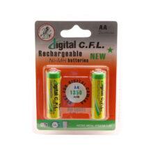 بسته ۲ عددی باتری قلمی شارژی نیکل هیبرید فلز ۱۳۵۰ میلی آمپر ۱.۲ ولت CFL