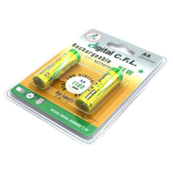 بسته 2 عددی باتری قلمی شارژی نیکل هیبرید فلز 1100 میلی آمپر 1.2 ولت CFL