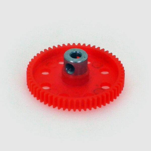 چرخ دنده متوسط پلاستیکی 57 دنده با ابوش فلزی شفت 4
