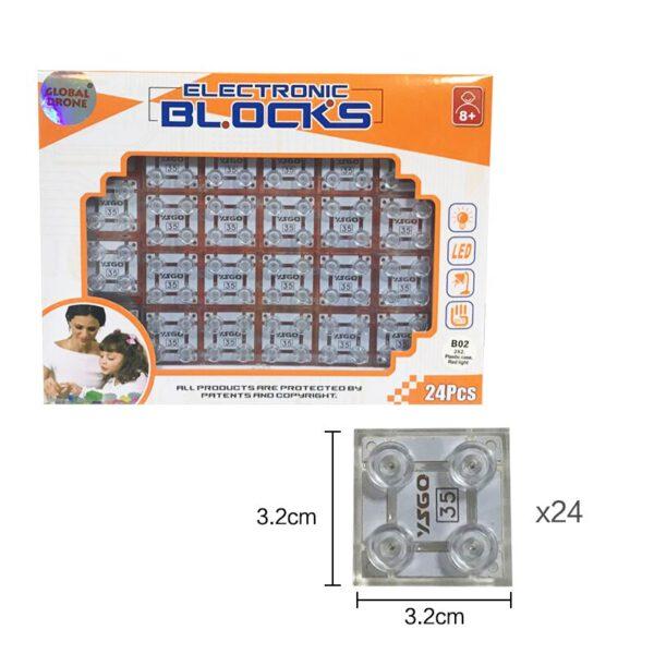 بلوک کمکی بسته های آموزشی YSGO با LED قرمز مدل 2x2